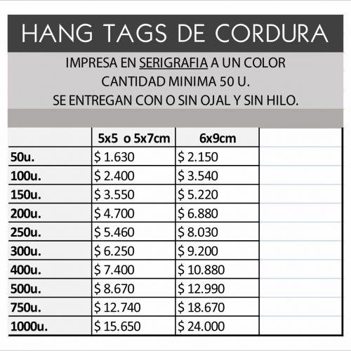 hang tags de CORDURA